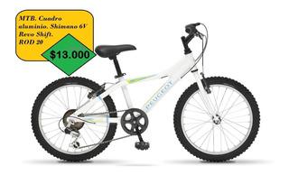 Bicicleta Peugeot Rodado 20 Mtb J01-20 Cuadro Aluminio