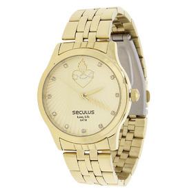 Relógio Seculus Feminino Dourado E Colar Sagrado Coração 220