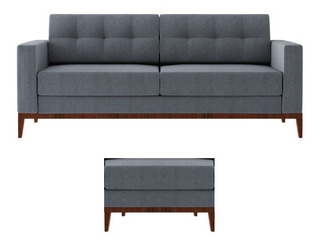Sofa Hugo 4 Lugares Pe Base Madeira 210cm + Puff 60x40