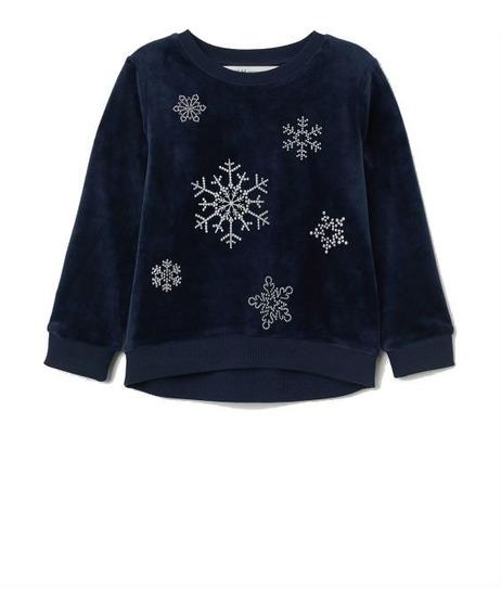 Buzo Sweater Nena H&m Importado C/etiqueta Azul C/brillitos