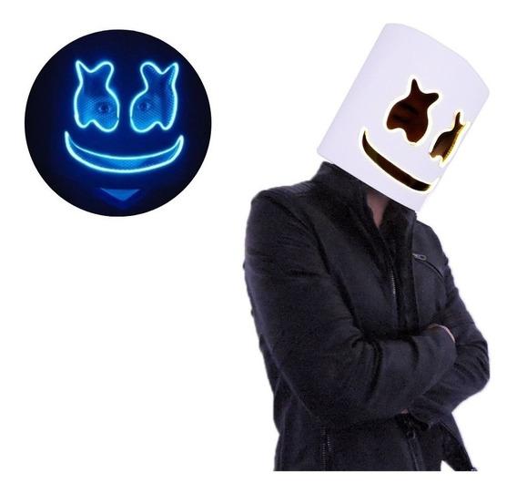 Casco Disfraz Máscara Dj Marshmallow Luz Led Azul Marshmello