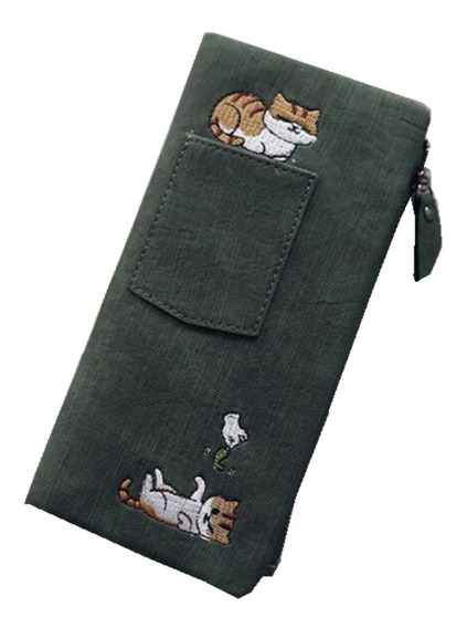 Cartera Dama Gato Bordado Estilo Lona Monedero Billetera