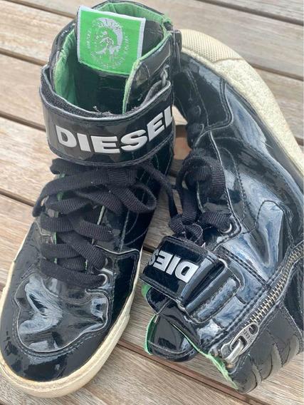 Zapatillas Botitas Diesel Niños 36 Negro Charol Importadas
