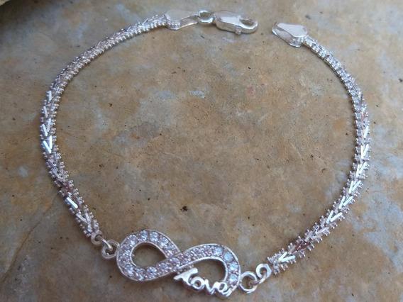 Bellisimo!!pulso Femenino Infinito Amor Diamantado Plata 925