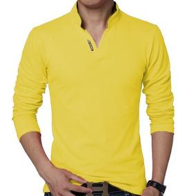 Camiseta Masculina Decote V Elastano Slim Fit Manga Longa