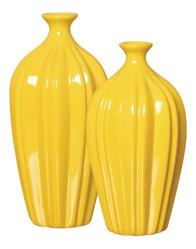 Dupla De Vasos Em Cerâmica Amarelo P/ Presente Ou Decoração