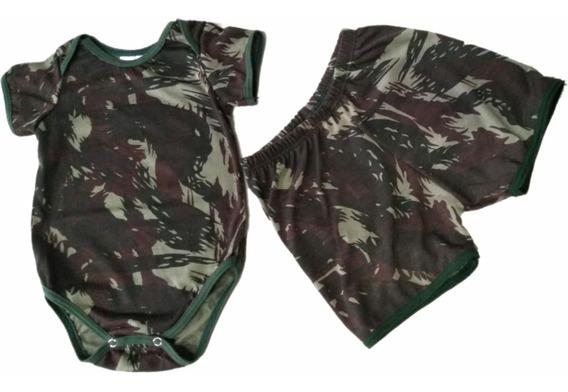 Conjunto Body Bebê Camuflado Exército Manga Curta Com Shorts