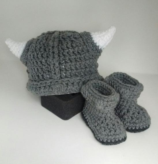 Gorro Y Botitas De Lana - Vikingo Tejido A Crochet