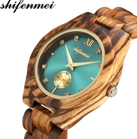 Relógio De Pulso Quartzo De Madeira Marca De Luxo Shifenmei