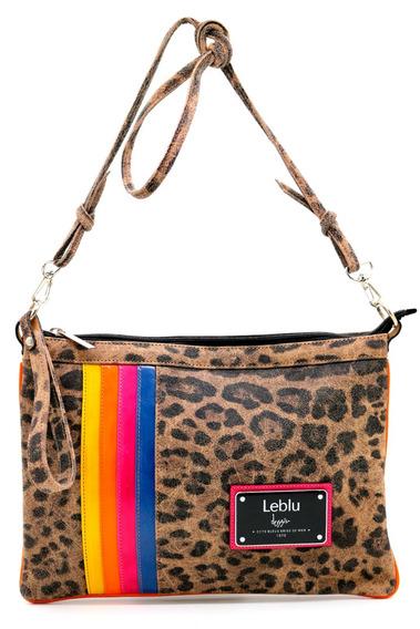 Cartera Bolso Morral Cuero Mujer Leopardo Leblu C722