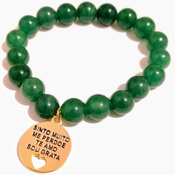 Pulseira Jade Verde Esmeralda E Medalha Ho