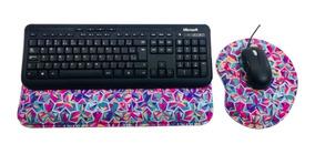 Kit Mousepad + Apoio Ergonômico Teclado Colorido Promoção