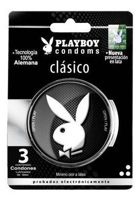 Condon Playboy Latex Lubricado Estuche Metal 3 Pz Erotika