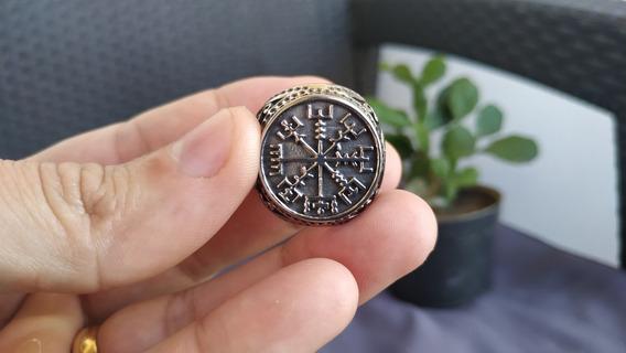 Anel Amuleto Vegvisir Viking Runa Nordica