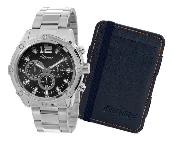 Relógio Condor Masculino Prata Com Carteira Covd54ad/k3p