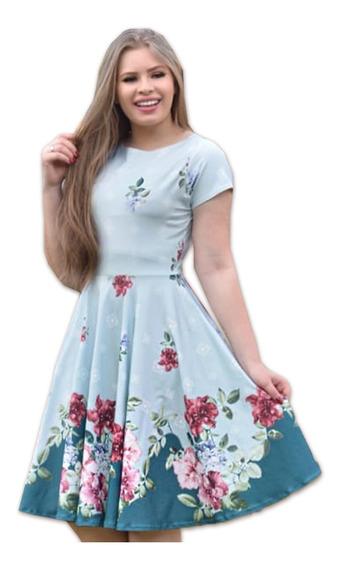 Vestido Feminino Evangélico Midi Floral Rodado Neoprene
