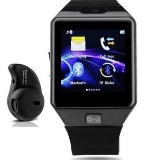 Dz09 Relógio De Pulso Bluetooth Smartwatch Mp3 Telefone Chip Sim Touch Notificação Chamadas Passos Câmera + Fone Ouvido