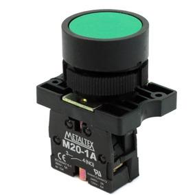 Botão Pulsador Plastico Metaltex P20bfr-g-1a Verde 1na