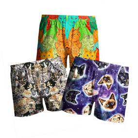 Kit C/ 3 Samba Canção Estampada Masculina Cat Galaxy Gatos