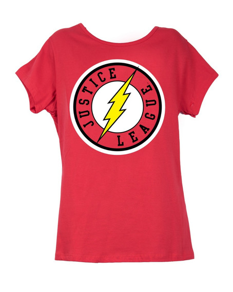 Remera, Dc, Flash Logo Justice League Dama. Ovni Press