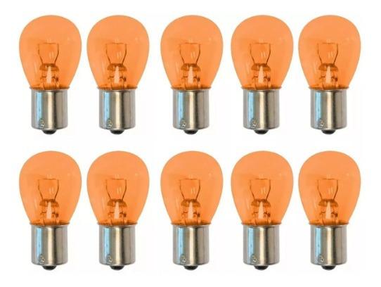 Lâmpada Âmbar Luz Para Seta 10un / P21w Ba15s 21w 12v