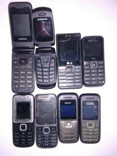 Lote Com 8 Celular Nokia Samsung LG Sucata Para Peças Leia