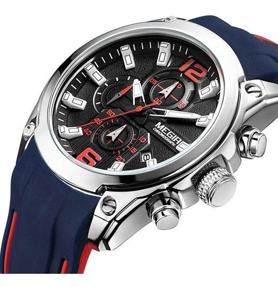 Relógio Megir 2063 Cronógrafo Calendário Esportivo Original