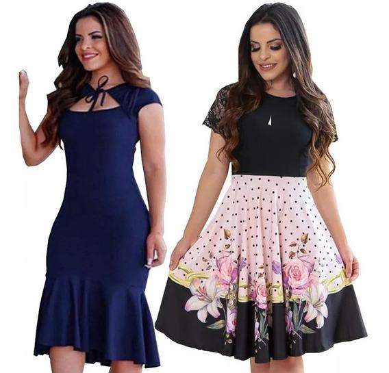 2 Vestidos Femininos Moda Evangelica Tamanho Unico 40 Ao 44