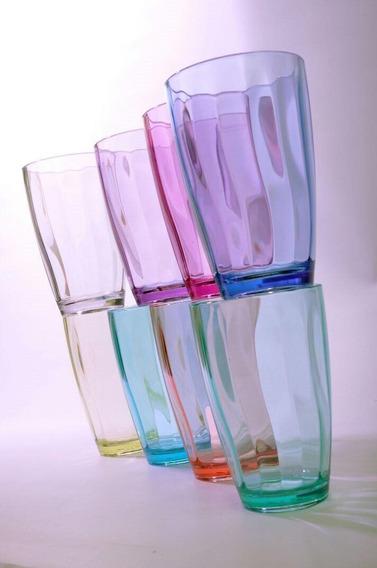 6 Vaso Plástico Acrílico Nuevos Transparente Colores 410 Ml