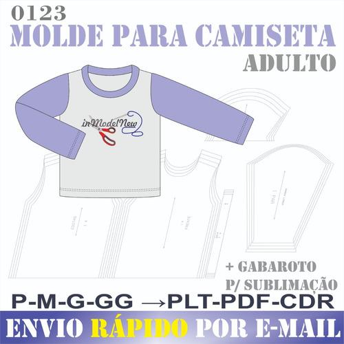 Molde Digital Camiseta Masculina Adulto Manga Longa E Curta