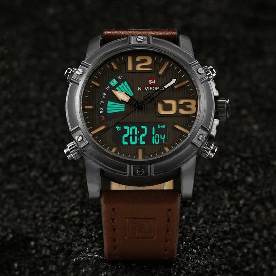Relógio Masculino Digital Naviforce 9095 Pu Pulseira E Caixa