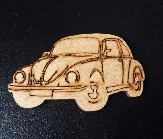 Pack 10 Carro Fusca Mdf Cru Decoração Aplique 05 Cm Md02