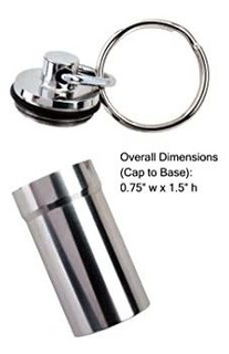 Large Stainless Steel, Waterproof Magnum Pill Fob Keyring Ho