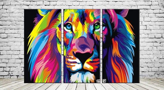 Cuadros Modernos Tripticos Leon Multicolor Selva 90x57 Cm A8
