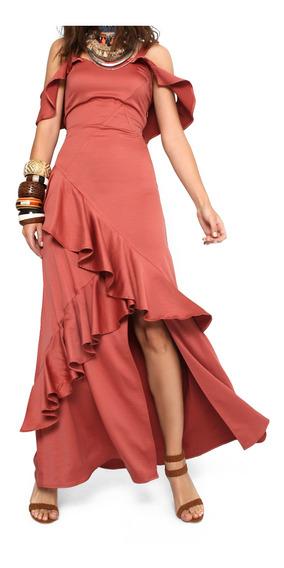 Vestido Mujer Maxi Efecto Satin Color Rosa Lob