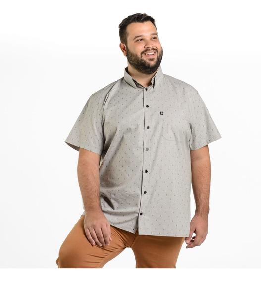 Camisa Plus Size Masculina Manga Curta Miniestampa Mais Pano