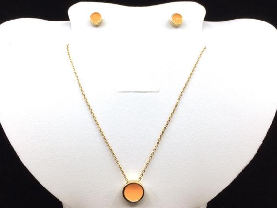Vogary Collar Dije Moderno Chapa Oro 18 Dama Cadena Moda Set
