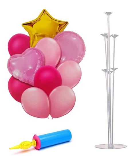 Set Globos Metalizados Rosa Dorado + Base E Inflador