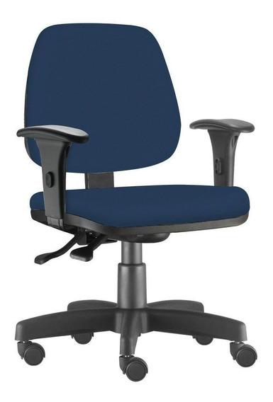 Cadeira Giratória Job Executiv Escritório Suede Azul Marinho