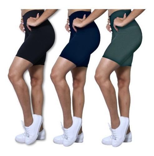 Kit 3 Bermudas Fitness Plus Size #top #academia #legging
