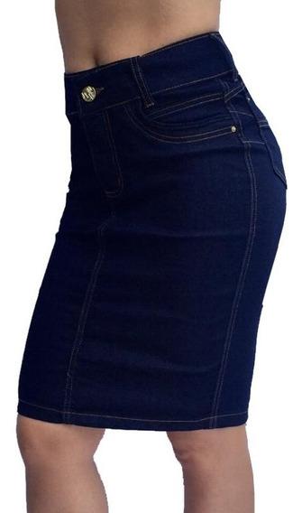 Saia Jeans Midi Moda Evangélica Bojo Modela Bumbum