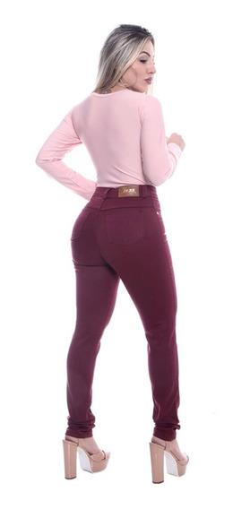 Calça Jeans Cintura Alta Hot Pants Levanta Bumbum Com Lycra