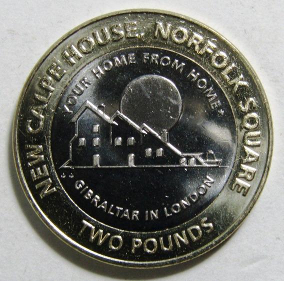 Gibraltar 2 Pounds 2018 Bimetalica Casa De Giblarta Unc