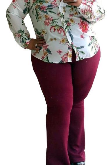 Calça Feminina Plus Size Flare Tamanho Grande Tecido Grosso