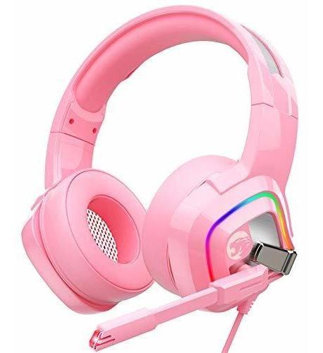 Imagen 1 de 8 de Auriculares Gamer Ziumier Rosa Led Rgb C/mic Ps4 Xbox One Pc