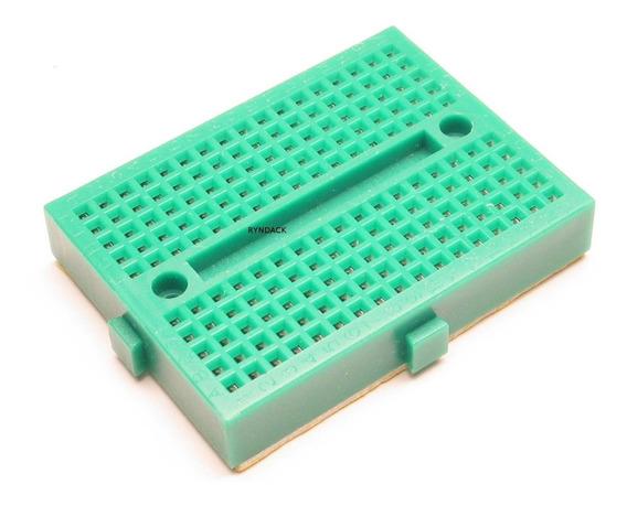 Mini Protoboard 170 Furos Verde Com Adesivo Para Arduino