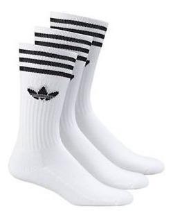Meia Adidas Originals Solid Crew Blackwhite Calçados