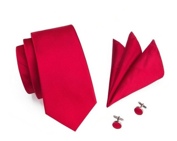 206 Corbata Seda Jacquard Pañuelo Mancuernillas - Rojo
