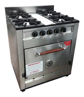 Cocina Industrial Familiar Pevi 4 Hornallas Acero Inox 70 Cm