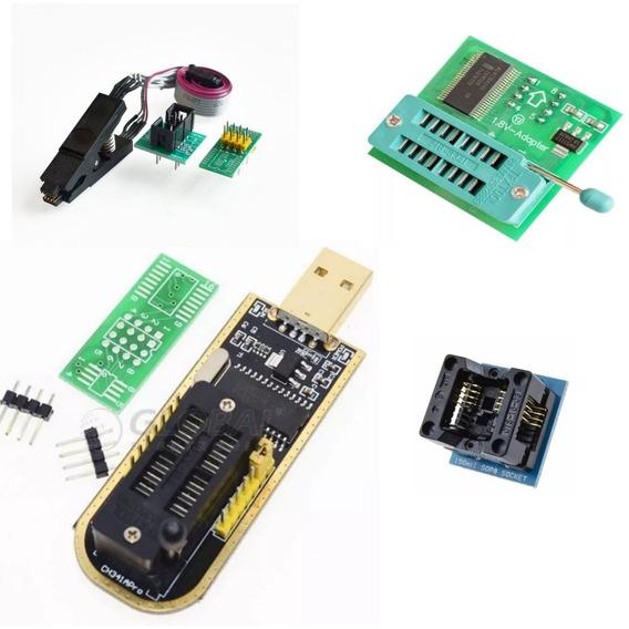 Kit Gravador Eprom Usb Ch341a Spi Flash 24xx 25xx Clip Soic8